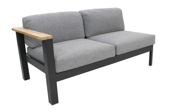 40101L - MINIO ALU anthrazit 2-Sitzer Sofa mit Linker Armlehne inkl. Kissen